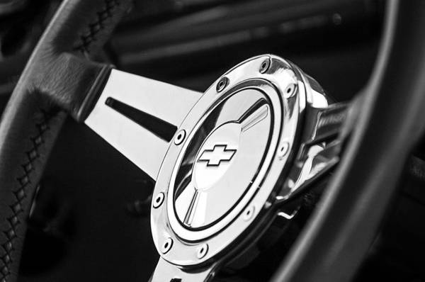 1956 Chevy Wall Art - Photograph - 1956 Chevrolet 210 2-door Handyman Wagon Steering Wheel Emblem by Jill Reger