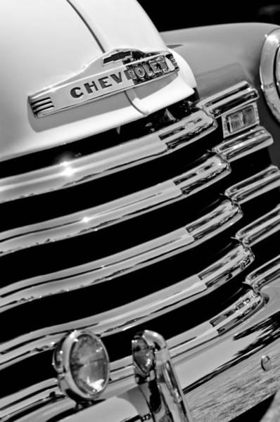 Photograph - 1956 Chevrolet 3100 Pickup Truck Grille Emblem by Jill Reger
