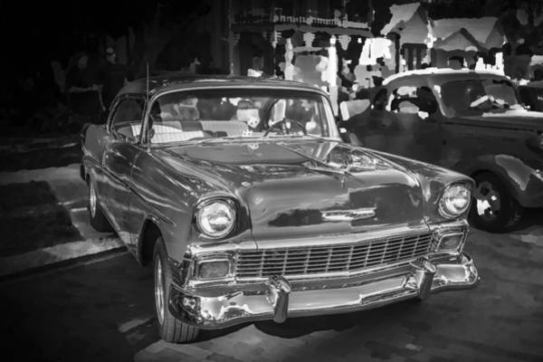 V8 Engine Photograph - 1956 Chevrolet Bel Air 210 Bw by Rich Franco