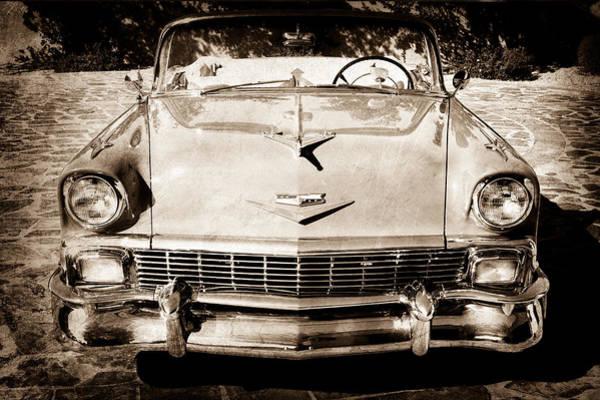 1956 Chevy Wall Art - Photograph - 1956 Chevrolet Belair Convertible Hood Ornament by Jill Reger