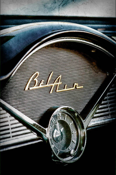 1956 Chevy Wall Art - Photograph - 1956 Chevrolet Belair Dashboard Emblem - Clock by Jill Reger