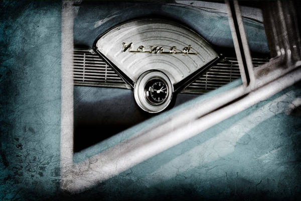 1956 Chevy Wall Art - Photograph - 1956 Chevrolet Belair Nomad Dashboard Emblem by Jill Reger