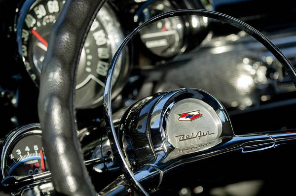 Photograph - 1957 Chevrolet Belair Steering Wheel by Jill Reger