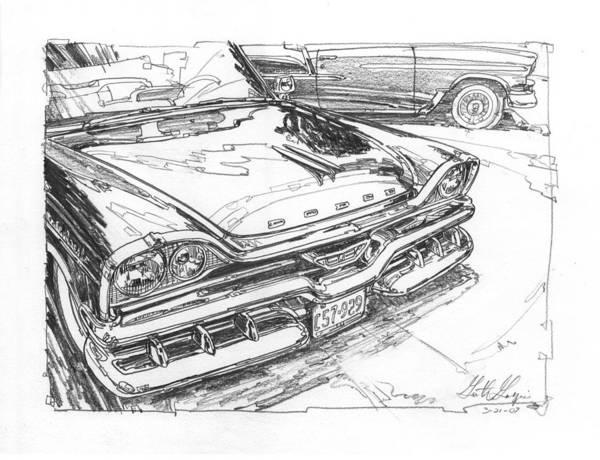 Wall Art - Drawing - 1957 Dodge Royal Lancer Study by Garth Glazier