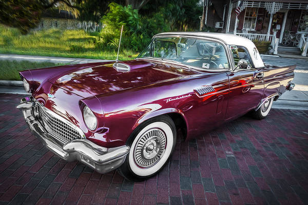 V8 Engine Photograph - 1957 Ford Thunderbird Convertible Painted    by Rich Franco