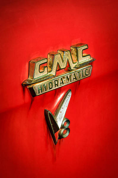 Photograph - 1957 Gmc Hydramatic V8 Emblem by Jill Reger