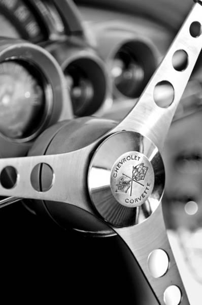Photograph - 1958 Chevrolet Corvette Steering Wheel by Jill Reger