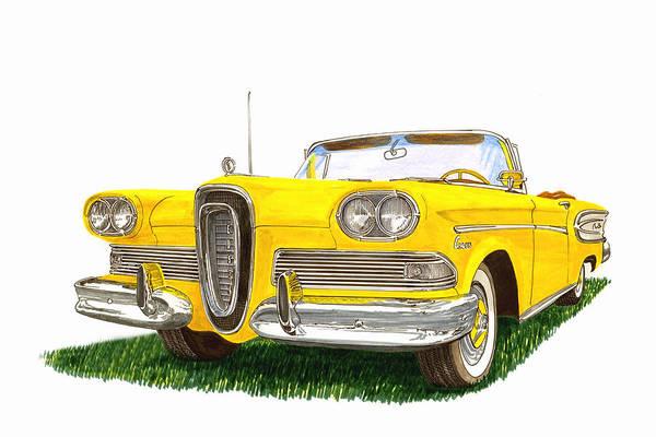 Corsair Painting - 1958 Edsel Citation Convertible by Jack Pumphrey