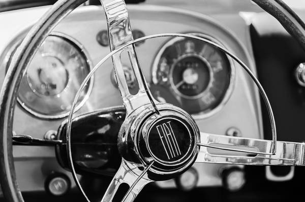 Photograph - 1958 Fiat 1200 Tv Sportsman Roadster Steering Wheel by Jill Reger