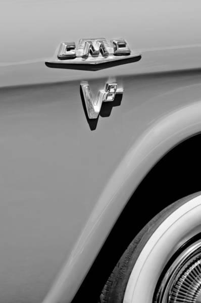 Photograph - 1958 Gmc Series 101-s Pickup Truck Side Emblem by Jill Reger