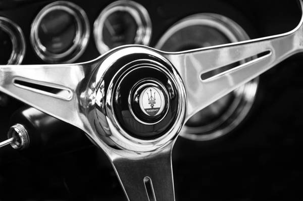 Steering Wheel Wall Art - Photograph - 1958 Maserati Steering Wheel Emblem by Jill Reger