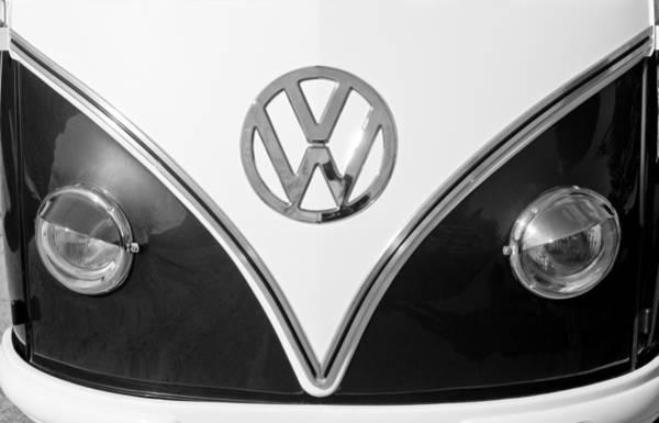 Volkswagen Photograph - 1958 Volkswagen Vw Bus Hood Emblem by Jill Reger