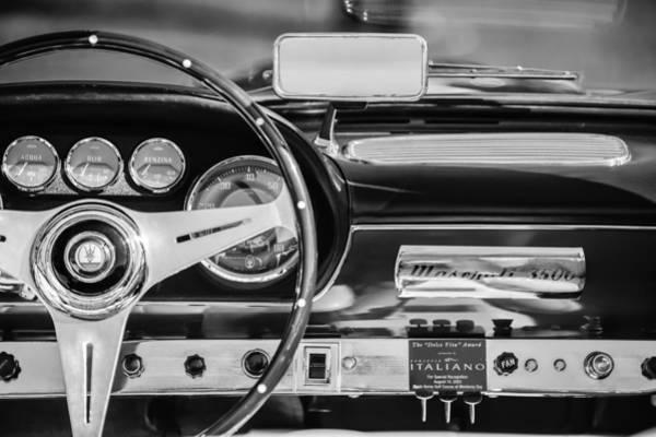 Photograph - 1960 Maserati 3500 Gt Spyder Steering Wheel Emblem by Jill Reger