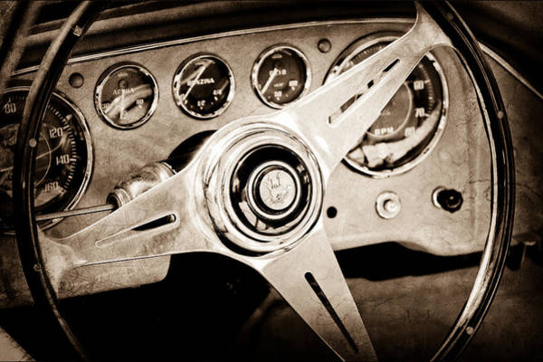 Photograph - 1960 Maserati Steering Wheel Emblem by Jill Reger