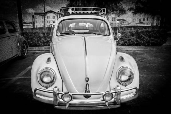 Photograph - 1960 Volkswagen Beetle Vw Bug   Bw by Rich Franco