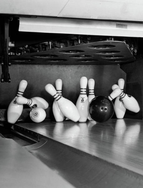 Ten Pin Bowling Wall Art - Photograph - 1960s Close-up Of Bowling Ball Hitting by Vintage Images