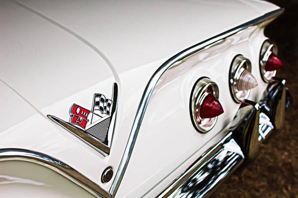 Convertible Photograph - 1961 Chevrolet Impala Convertible Taillight Emblem by Jill Reger