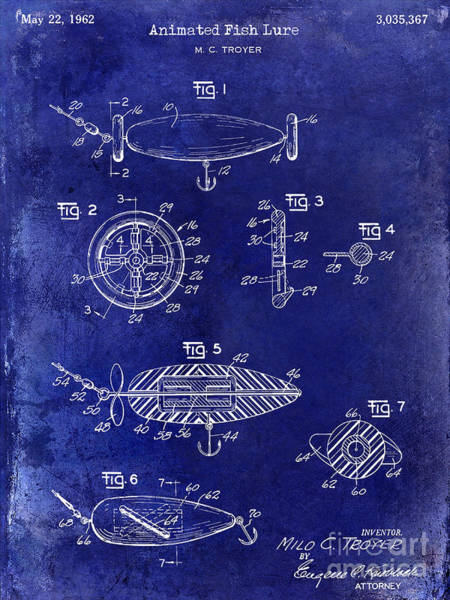 1962 Animated Fish Lure Blue Art Print