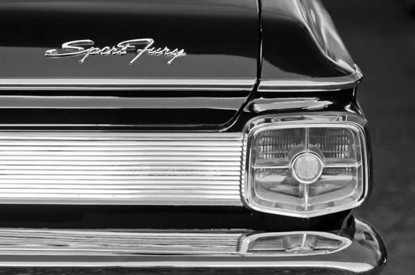 Plymouth Photograph - 1963 Plymouth Sport Fury Taillight Emblem by Jill Reger