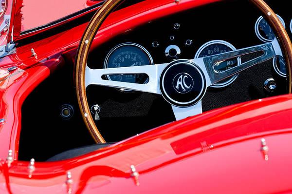 Photograph - 1965 Shelby Ac Cobra Roadster 289 Steering Wheel Emblem by Jill Reger