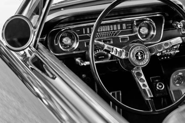 Black Car Photograph - 1965 Shelby Prototype Ford Mustang Steering Wheel by Jill Reger