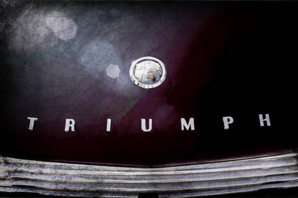 Photograph - 1967 Triumph Tr4a Roadster Hood Emblem by Jill Reger