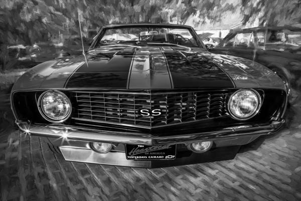 Street Racer Photograph - 1969 Chevy Camaro Ss Painted Bw by Rich Franco