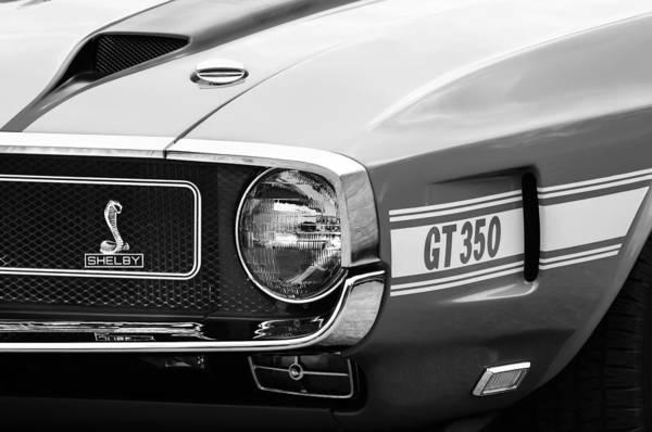 Convertible Photograph - 1970 Ford Mustang Convertible Gt350 Replica Grille Emblem by Jill Reger