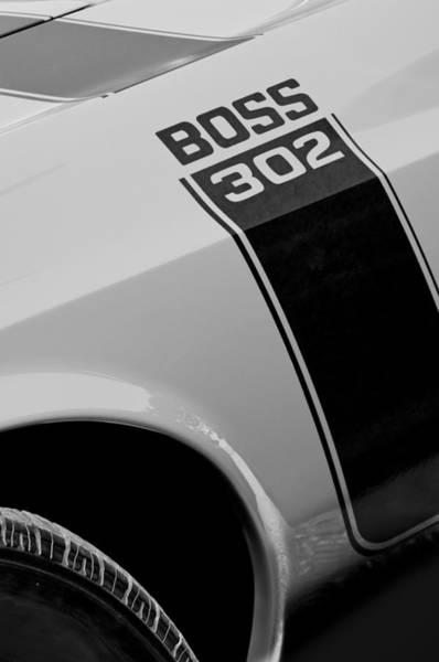 Photograph - 1970 Ford Mustang Sportsroof Boss 302 Emblem by Jill Reger