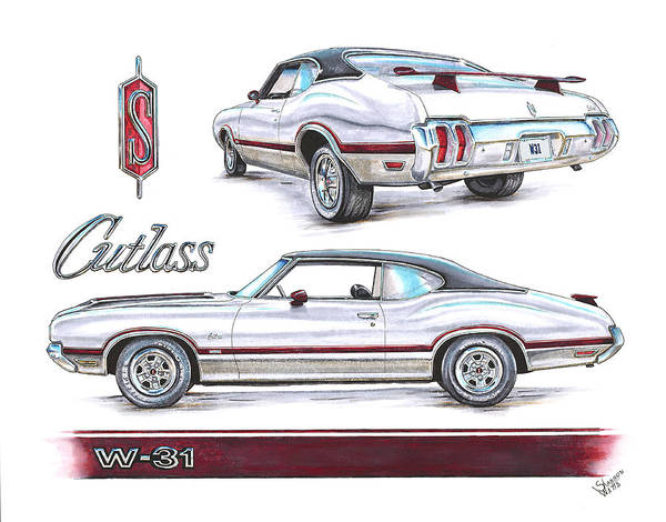 Oldsmobile 442 Wall Art - Drawing - 1970 Oldsmobile W-31 by Shannon Watts