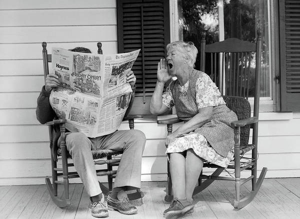 Relation Photograph - 1970s Elderly Couple In Rocking Chairs by Vintage Images