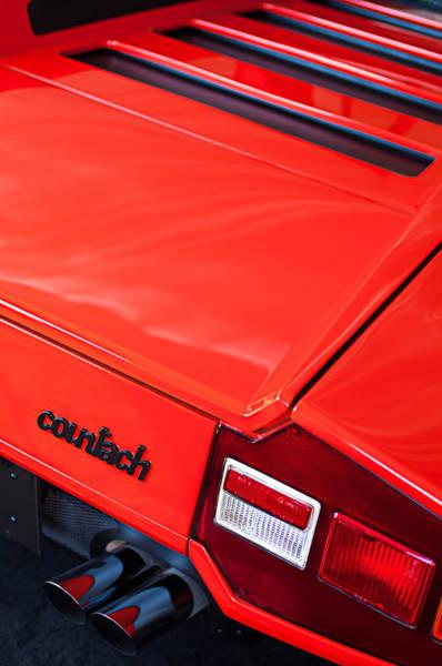 Lp Wall Art - Photograph - 1975 Lamborghini Countach Lp400 'periscopica' Rear Emblem by Jill Reger