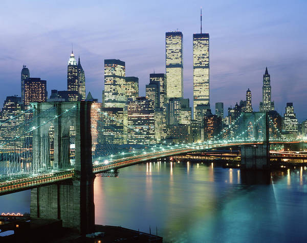 September 11 Attacks Photograph - 1980s New York City Ny Downtown Skyline by Vintage Images