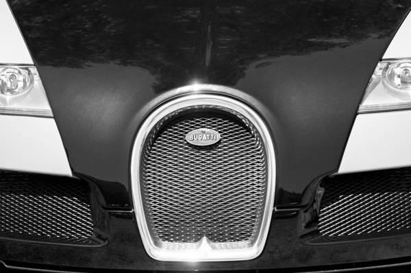 Photograph - 2008 Bugatti Veyron Grille Emblem -1288bw by Jill Reger