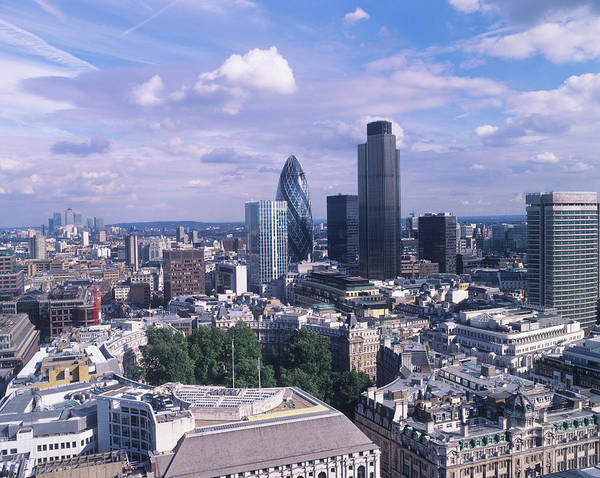 St. Mary Photograph - 30 St Mary Axe And Tower 42 by Mark Thomas/science Photo Library
