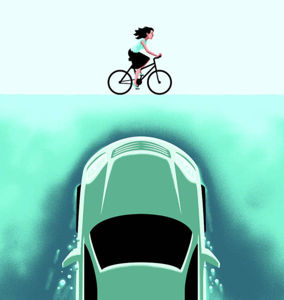 Sharks Drawing - A Car Emerges From The Deep Toward A Bicyclist by Christoph Niemann