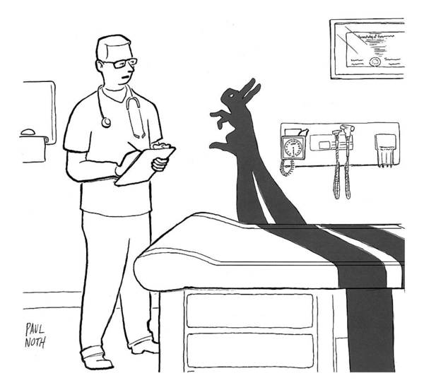 Medicine Drawing - A Doctor Consults A Shadow Puppet Of A Rabbit by Paul Noth