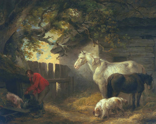 Trough Wall Art - Painting - A Farmyard by George Morland