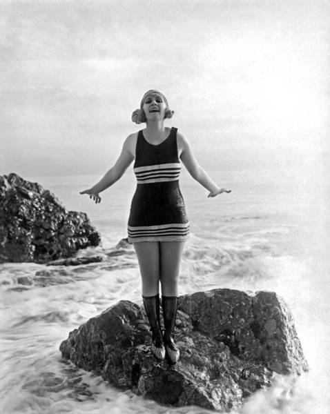 Joyous Photograph - A Flapper In Her Bathing Suit by Underwood Archives