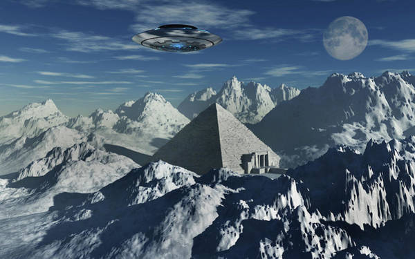 Ufology Photograph - A Flying Saucer Hovering Over A Pyramid by Mark Stevenson