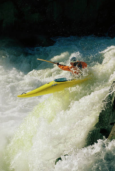 Wall Art - Photograph - A Kayaker Speeds Down One Of The Falls by Skip Brown