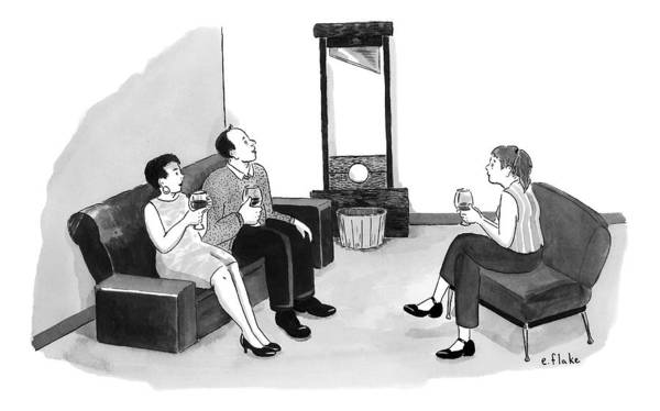Wine Drawing - A Man And Two Women Having Wine In A Living Room by Emily Flake