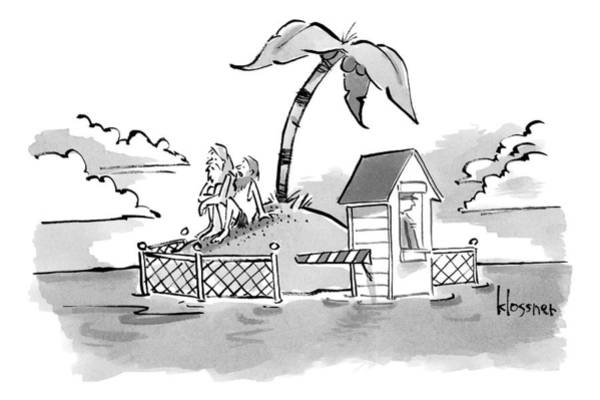 Shipwreck Drawing - A Man And Wife Sit On A Very Small Island That by John  Klossner