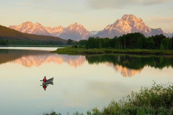 Blue Jackets Photograph - A Man Canoeing On A Calm River by Jimmy Chin