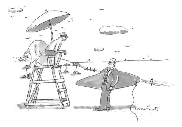 May 31st Drawing - A Man In A Suit Is Seen Holding A Surfboard by Michael Crawford