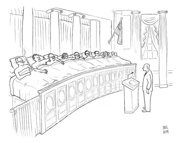Justice Drawing - A Man Is Seen Standing In Front Of A Panel by Paul Noth