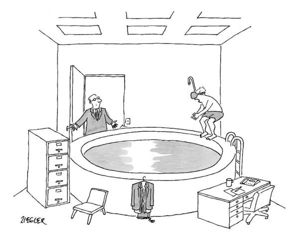 Pool Drawing - A Man Opens The Door Of An Office by Jack Ziegler