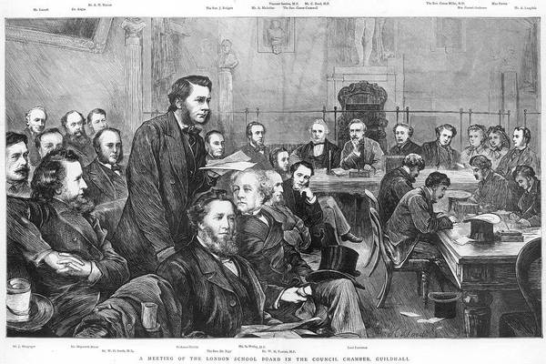 Wall Art - Drawing - A Meeting Of The London School Board by  Illustrated London News Ltd/Mar