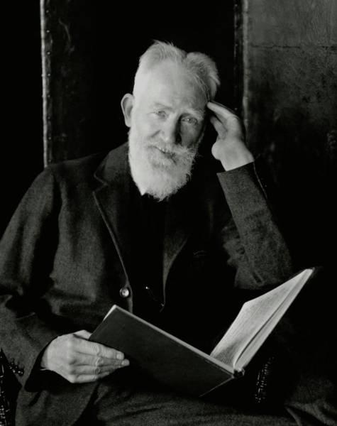 Reading Photograph - A Portrait George Bernard Shaw by Nickolas Muray