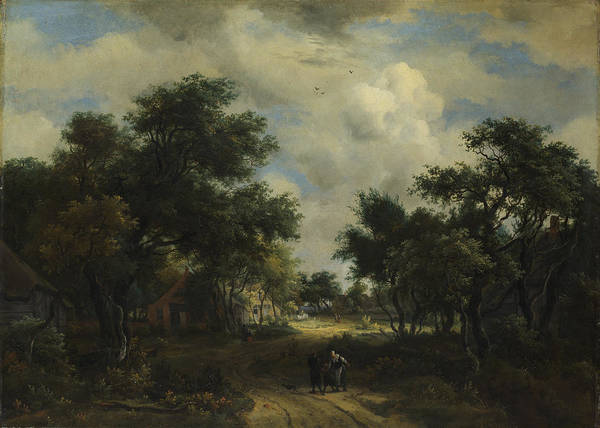 Meindert Hobbema Painting - A Road Winding Past Cottages by Meindert Hobbema